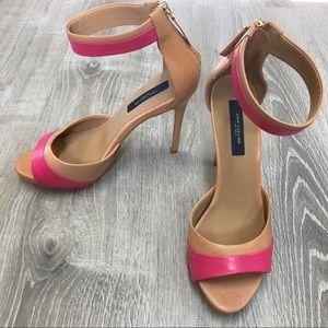 Tan & Pink Ann Taylor Ankle Strap Platform Sandal